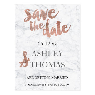 Save the Date Rose gold typography marble Postcard
