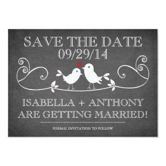 SAVE THE DATE Vintage Chalkboard Love Birds 11 Cm X 16 Cm Invitation Card