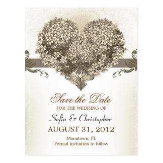 save the date vintage floral heart postcards