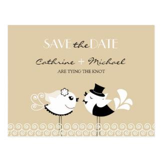 Save The Date Wedding Birds Postcard