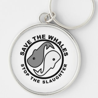 Save the Whales - Animal Rights Silver-Colored Round Key Ring