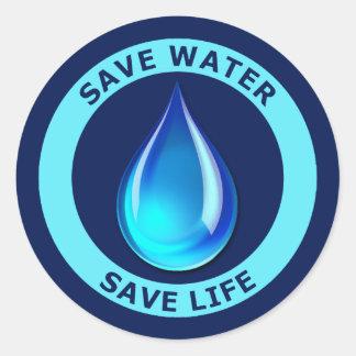 Save Water Save Life Round Sticker