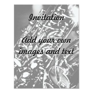 Saxophone 11 Cm X 14 Cm Invitation Card