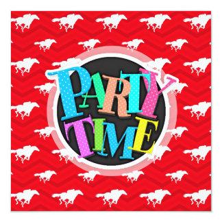 Scarlet Red, White, Chevron, Horse Racing 13 Cm X 13 Cm Square Invitation Card