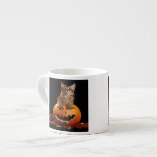 Scary Halloween Pumpkin And Somali Kitten Espresso Mug