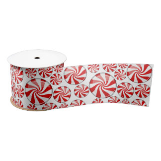 Scattered Peppermint Candies Satin Ribbon