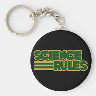 Science Rules Basic Round Button Key Ring