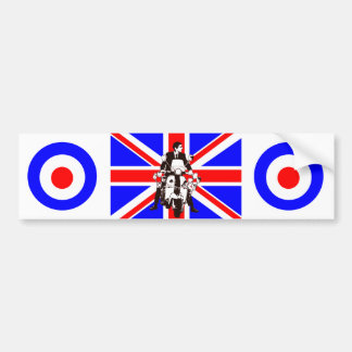 Scooter Rider with Union Jack background Bumper Sticker