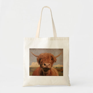 Scottish highland cow budget tote bag