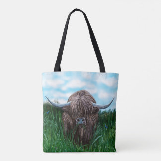 Scottish Highland Cow Painting Tote Bag