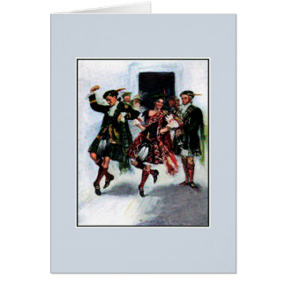 Scottish kilt dance book illustration greeting card