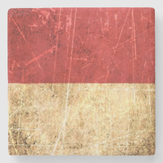 Scratched and Worn Vintage Monaco Flag Stone Beverage Coaster