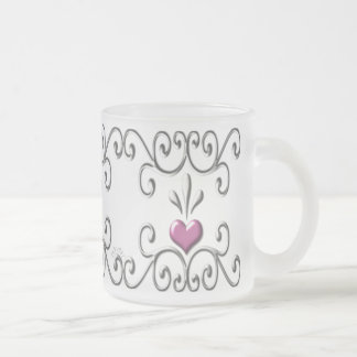 Scrolled Hearts pink small Frosted Glass Mug