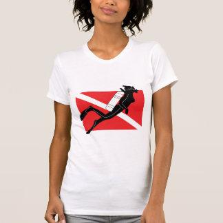 SCUBA Diver Down Flag With Female Diver Shirt