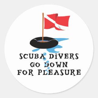 Scuba Divers Go Down For Pleasure Round Sticker