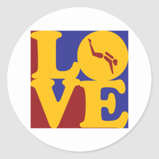 Scuba Diving Love Round Sticker