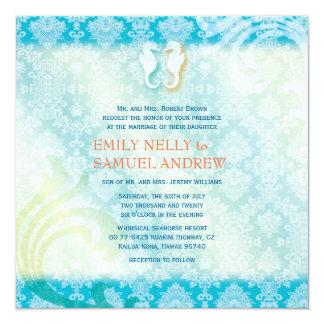 Sea Horse Couple Jeweled Damask Teal Beach Wedding 13 Cm X 13 Cm Square Invitation Card