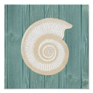 Sea Shell Vintage Aqua Wood Beach Poster