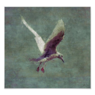 Seagull Landing on Water Impressionist Art Poster