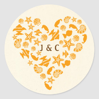 Seashells & Starfish Heart Envelope Seal Round Sticker