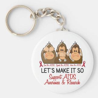 See Speak Hear No AIDS 2 Basic Round Button Key Ring