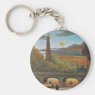 Seine and Eiffel Tower at Sunset by Henri Rousseau Basic Round Button Key Ring