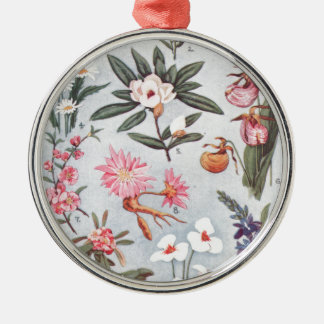 Selected State Flowers Vintage Art Illustration Silver-Colored Round Decoration
