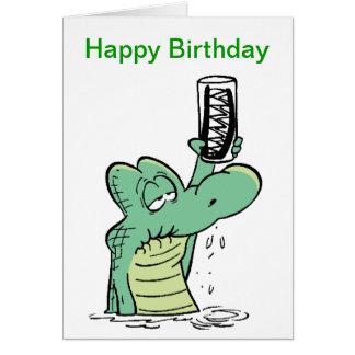 Senior Citizen Crocodile Birthday Cartoon Greeting Card