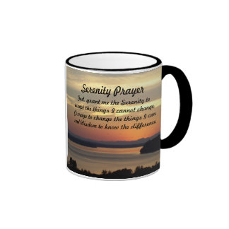 Serenity Prayer Seascape Sunset Photo Ringer Mug