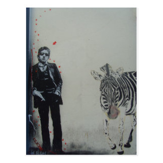Serge Gainsbourg with zebra Postcard