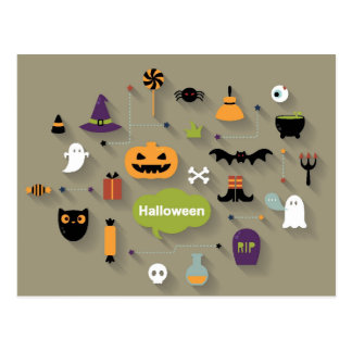 Set Of Halloween Icons Postcard