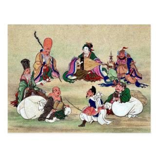 Seven gods of good luck Ukiyoe Postcard