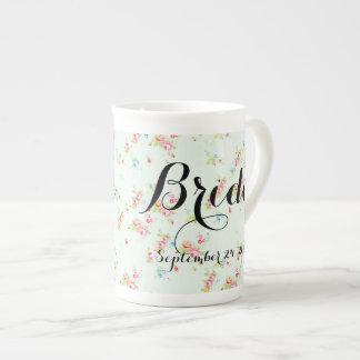 Shabby floral chic bride wedding date roses vintag bone china mug