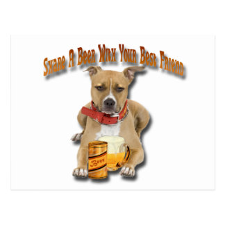 Share A Beer With American Staffordshire Terrier Postcard