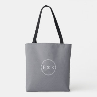 Shark Grey with White Wedding Detail Tote Bag