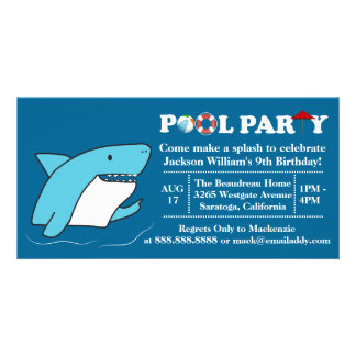 Shark Swimming Pool Party Birthday Invitation Customized Photo Card