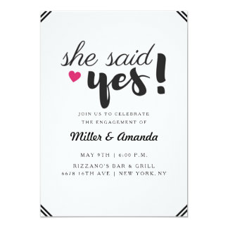 She Said Yes Photo Engagement Party Invite