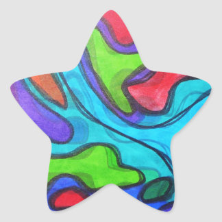 Shifted Squiggles - Modern Abstract Art Star Sticker