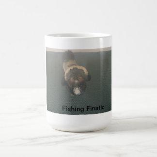 Shih Tzu with fishing gear Basic White Mug