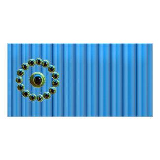 Shining Blue Curtain Rods n Dragons Eye Camera Photo Card