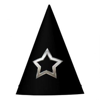 Shiny Silver Star Shape Outline Digital Design Party Hat