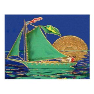 Ship Irish Flag American Flag Sun Boat Postcard