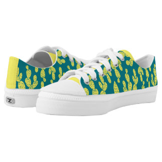 Shoes: Green & Yellow Cactus Printed Shoes