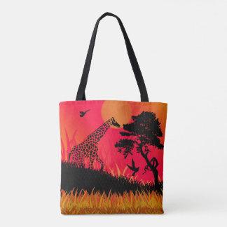 Silhouette of a Giraffe Feeding Tote Bag