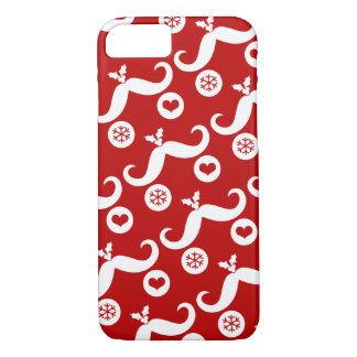 Silly Cute Mustache Smiley Santa Holiday Custom iPhone 7 Case