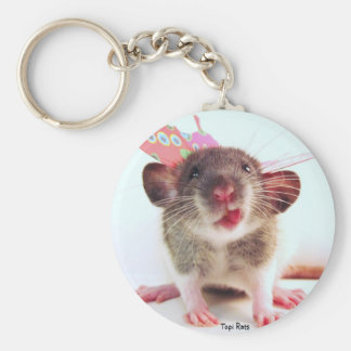 Silly Flutterby Rat Basic Round Button Key Ring
