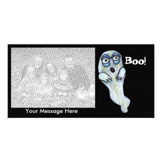Silly Goofy Cartoon Ghost Big Eyes Boo Personalised Photo Card