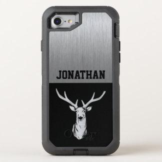 Silver and Black Deer Hunting Monogram OtterBox Defender iPhone 7 Case