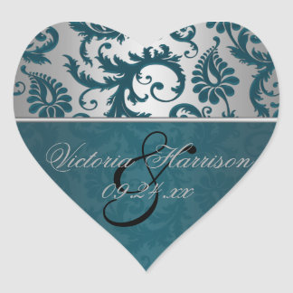 Silver and Teal Damask II Heart Shaped Sticker