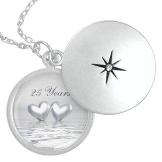 Silver Anniversary Hearts Round Locket Necklace